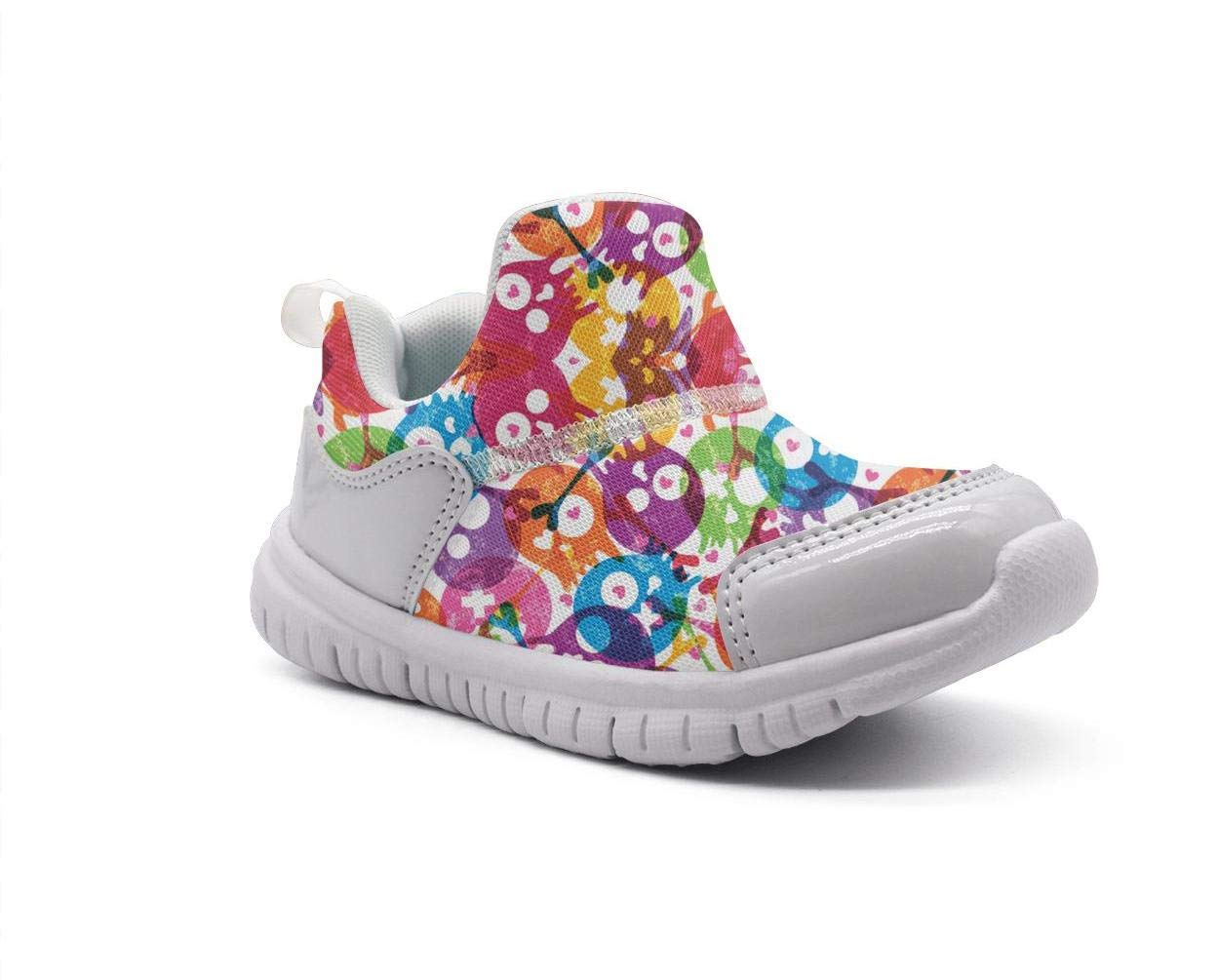 ONEYUAN Children Colorful Galaxy Skull Flowers Kid Casual Lightweight Sport Shoes Sneakers Walking Athletic Shoes