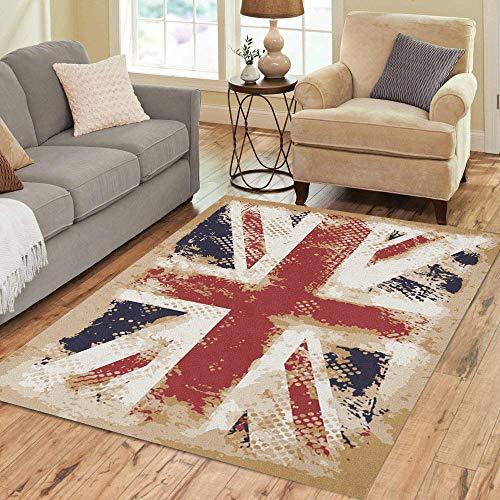 Pinbeam Area Rug Blue Union British Flag Red Jack England London Home Decor Floor Rug 5' x 7' Carpet