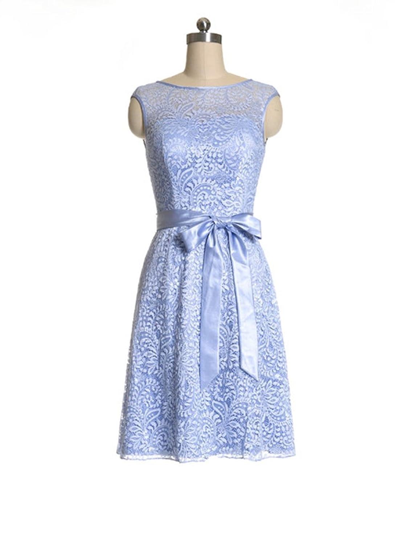 Newdeve Bateau Sleeveless Purple Lace Bridesmaid Dresses Short with Satin Sash