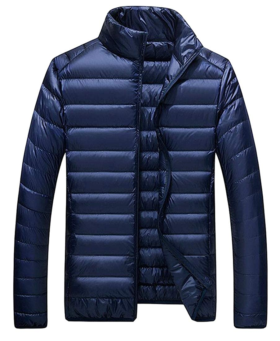heymoney Men Lightweight Down Jacket Stand Collar Packable Puffer Coats