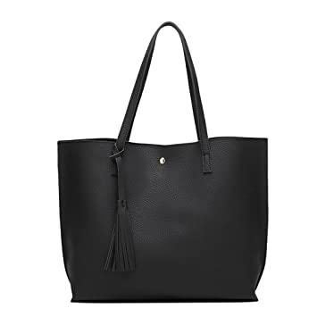 bfa9ac3e9c56 Amazon.com  ANSAN Simple Design PU Leather Womens Shoulder Bags Top-Handle  Tassel Handbag Tote Purse Bag Black  Computers   Accessories