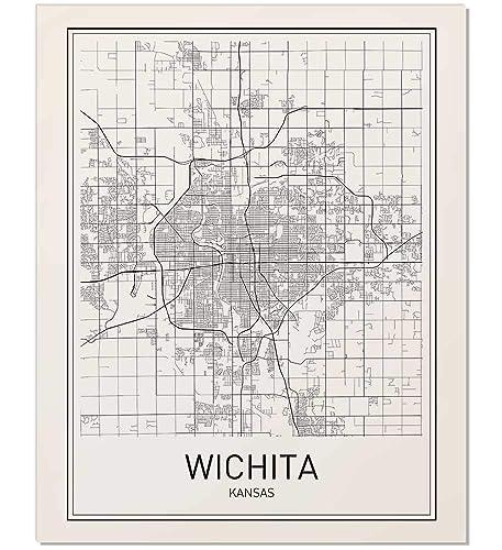 Amazon Com Wichita Poster Map Of Wichita Wichita Map City Map