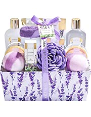 Spa Luxetique Lavender Bath Basket for Women, 12pc Spa Gift Set with Premium Cloth Box. Perfect Christmas, Birthday & Anniversary Gift Idea, Includes Bubble Bath, Body Butter, Bath Bombs & More.