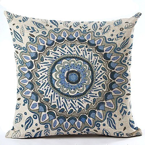 European colorful retro Floral Compass Medallion Home Cotton Linen Throw Pillow Case Personalized Cushion Cover NEW Home Office Decorative Square 18 X 18 Inches (Navy Blue Color) - Beige Floral Pillow