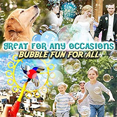 2-in-1 Bubble Blower Windmill, Bubble Wand with Soap Solution, Magic Bubble Stick, Portable Bubble Machine Fun Outdoor Play Toys for Kids Boys and Girls (Multicolor): Toys & Games