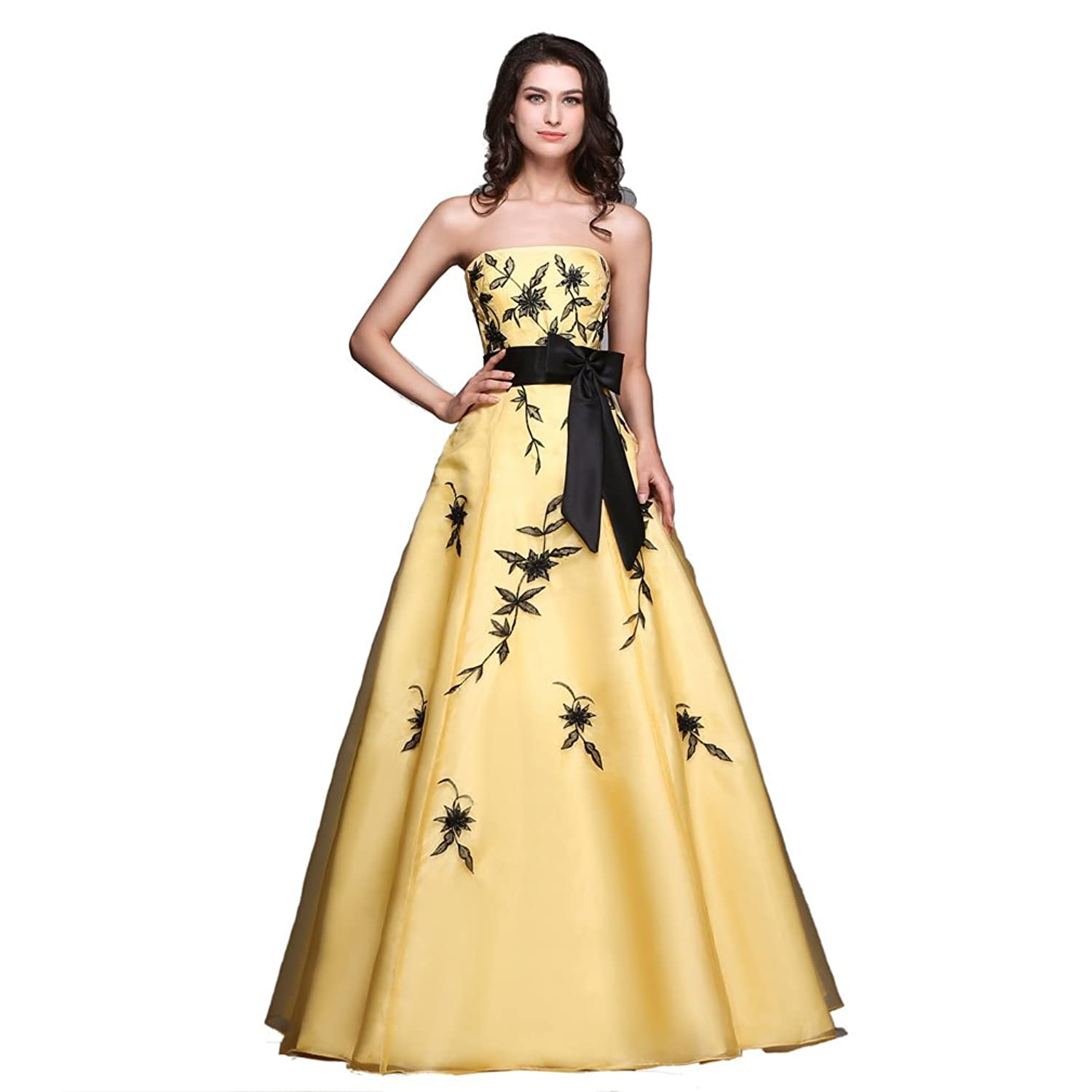 Mkleids Women's Yellow&black Embroidery A-line Prom dresses