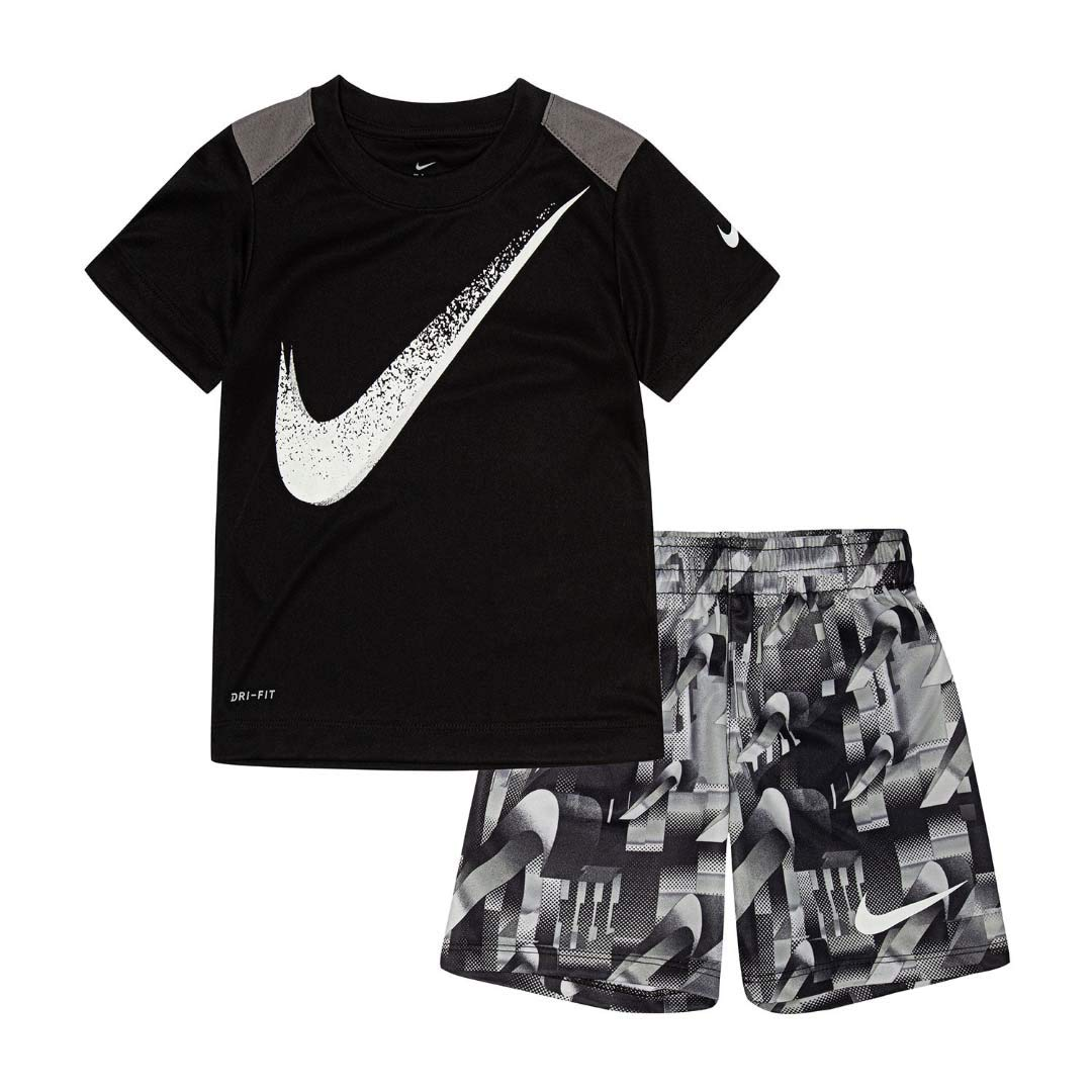 Nike Boy`s Dri-Fit T-Shirt & Shorts 2 Piece Set (Black(66E495-023)/White, 2T)