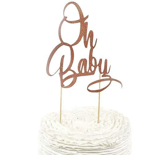 OH BABY Rose Gold Glitter Cake Topper