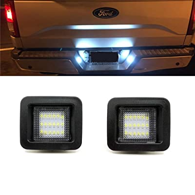 Xinctai 2PCS LED License Plate Light Lamp for 2015 2016 2020 2020 Ford F150, 2020- up Ford Raptor Trucks, Clear Lens, Super White 6000K LED Lights: Automotive [5Bkhe0803823]