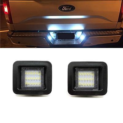 Xinctai 2PCS LED License Plate Light Lamp for 2015 2016 2020 2020 Ford F150, 2020- up Ford Raptor Trucks, Clear Lens, Super White 6000K LED Lights: Automotive [5Bkhe0906111]