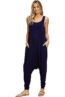 5429266ef4b2 Annabelle Women s Solid Harem Pant Sleeveless Pocket Harem Pant Jumpsuit