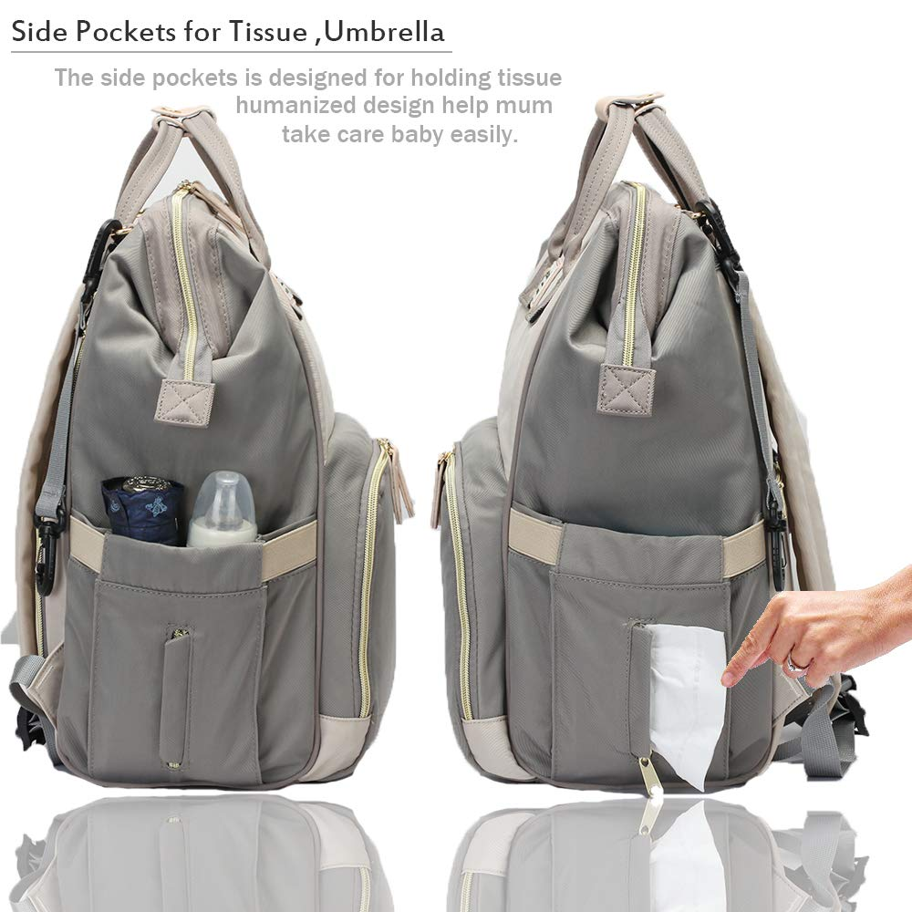 Baby Rucksack Changing Bag Diaper Nappy Backpack Waterproof Diaper Organiser Bag Large Capacity Mum Hospital Maternity Bag with Baby Changing Mat //Pram Straps