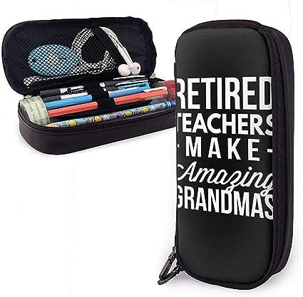 Estuche de lápices de cuero Hacer abuelas increíbles Cuero de microfibra Pu con cremallera Bolso de pluma Bolsa de maquillaje Unisex para la oficina de la universidad: Amazon.es: Oficina y papelería