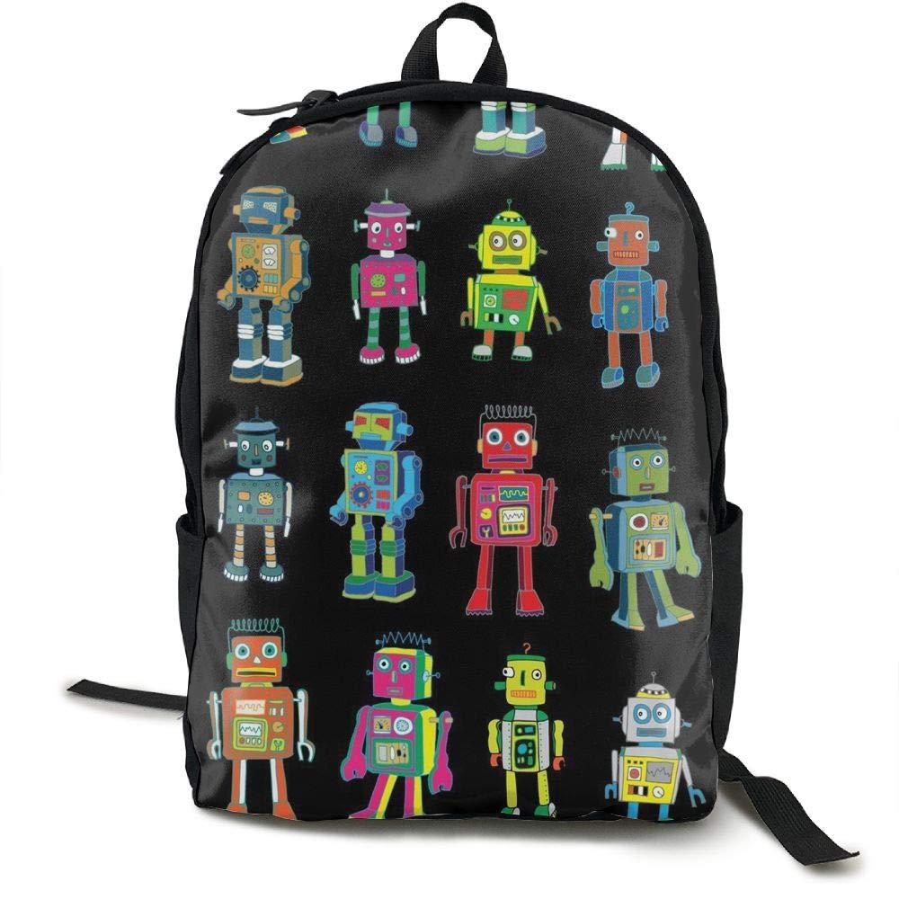 Malsjk8 ロボットラインアップ スクールバックパック 女の子/男の子 軽量 旅行用バックパック   B07GBMJYH7