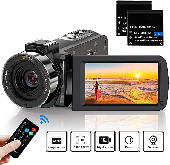 Video Camera Camcorder Full HD 1080P 36MP 30FPS Digital YouTube Vlogging Camera Video Recorder with Night Vision 3.0 Inch 270 Degree Rotation IPS Screen 16X Zoom Remote Control
