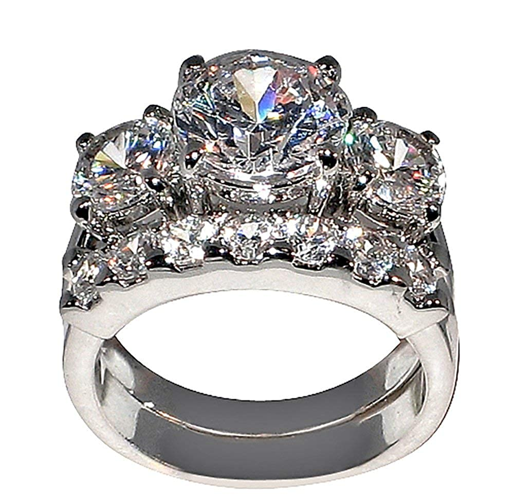 5 Ct. Bold Past Present & Future Style Cubic Zirconia Cz Bridal (Round-shaped Center Stone Is 2.75 Cts) Bridal Ring Bling Jam31