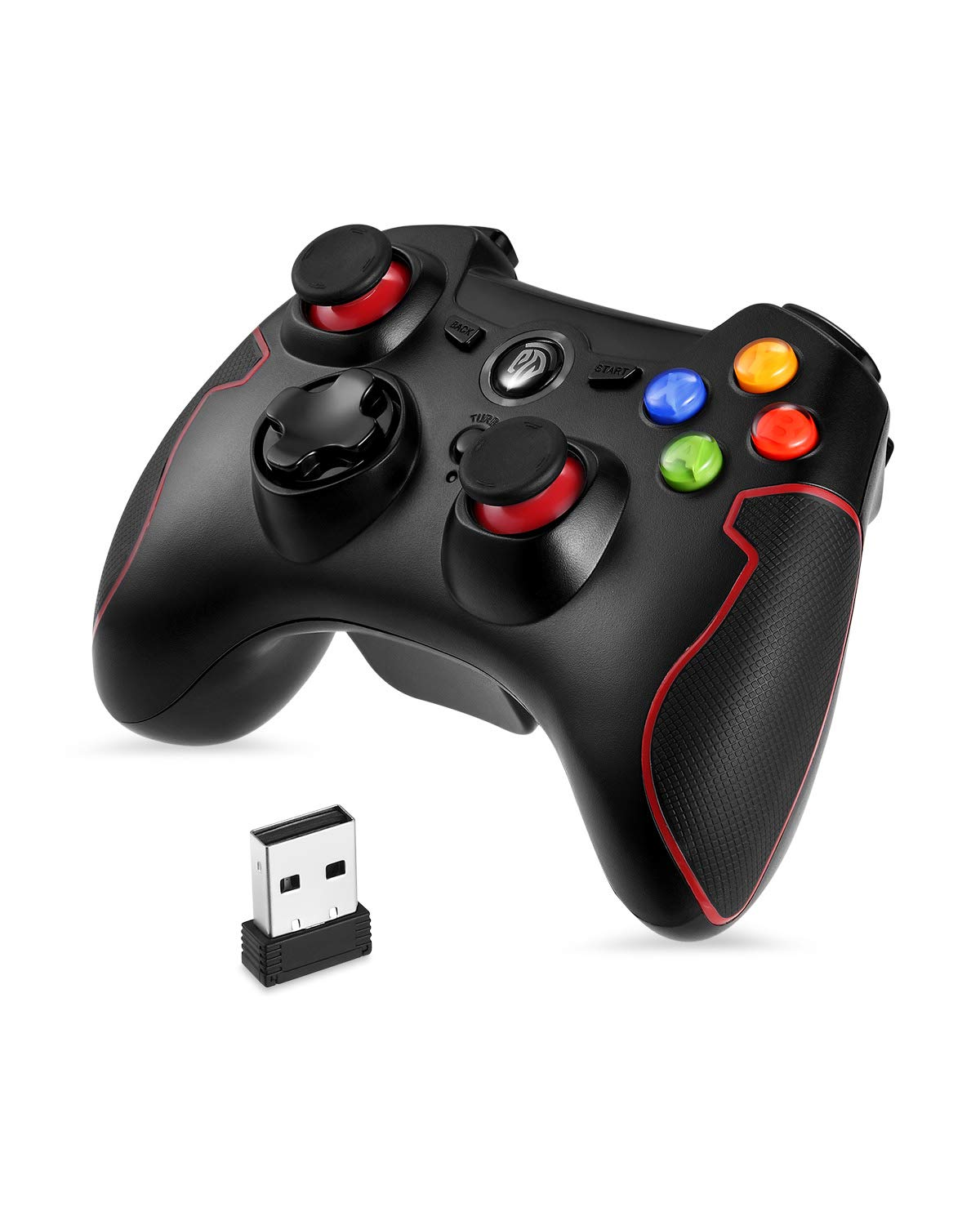 EasySMX PC PS3 Gaming Controller, Wireless 2.4G Gamepads Vibration Fire Button Support PC, PS3, Android, Vista, TV Box Portable Gaming Joystick Handle (Black Red)