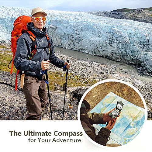 Waterproof Military Lensatic Sighting Compass with Magnifying Glass Mapping Ruler Reading Scale Distance Calculator for Navigation Hiking Camping Adventure, Heavy Duty Zinc Alloy with Pouch Included