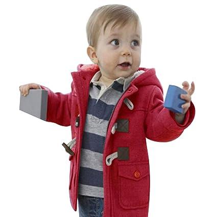 c9df6b3a4 Algodón Abrigo para Niños - Invierno Duffle Calentito Chaquetas con Capucha  Moda Elegante Horn Botón Abrigo