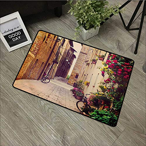 (Large Outdoor Door Mats Cityscape,Street in Pienza Tuscany Italy with Hanging Basket Plants Flowers Bicycles Picture,Red Green,Low Profile Door Mat - Welcome - Front Door, Garage, Patio,31