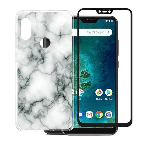 new arrival 1e768 a21b3 Xiaomi Redmi 6 Pro/Xiaomi Mi A2 Lite Case + Screen Protector Tempered Glass  Screen Film[Full Adhesive][Black],JIENI Clear TPU Silicone Shell Bumper ...