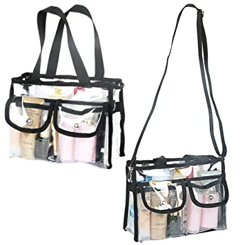 fd6ed8984418 LUVODI Clear Makeup Bag Transparent PVC Cosmetics Bag Travel Toiletry Pouch  Storage Wash Bag with Adjustable Shoulder Strap 2 External Magnet Snap ...