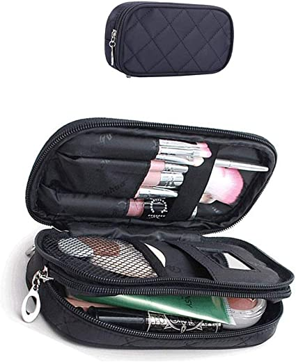 Xelparuca - Bolsa de maquillaje para mujer, estuche para lápices, organizador de cosméticos, bolsas de maquillaje, brochas de maquillaje, kit de viaje, mini bolsa (negro): Amazon.es: Belleza