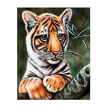 DIY 5D Diamond Painting Tiger Embroidery Cross Stitch Craft Kit Home Decor