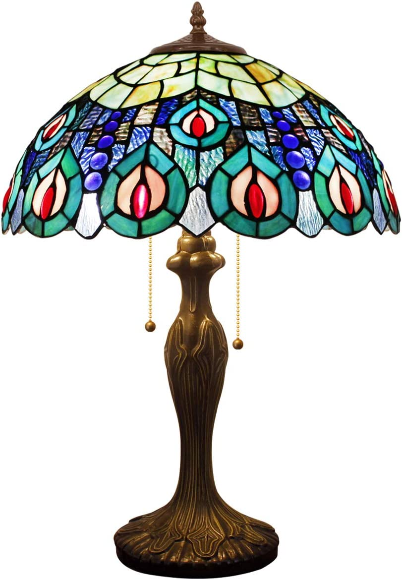 Tiffany Style Table Lamp Desk Beside Lamps 24 Inch Tall Sea Blue Stained Glass Shade Crystal Bead Peacock 2 Light Antique Zinc Base Decorate Coffee Table Living Room Bedroom S66616T01