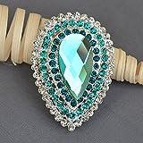 Rhinestone Brooch Teal Blue Crystal Brooch Wedding Brooch Bouquet Hair Comb Shoe Clip Wedding Accessories Supply Aqua BR388