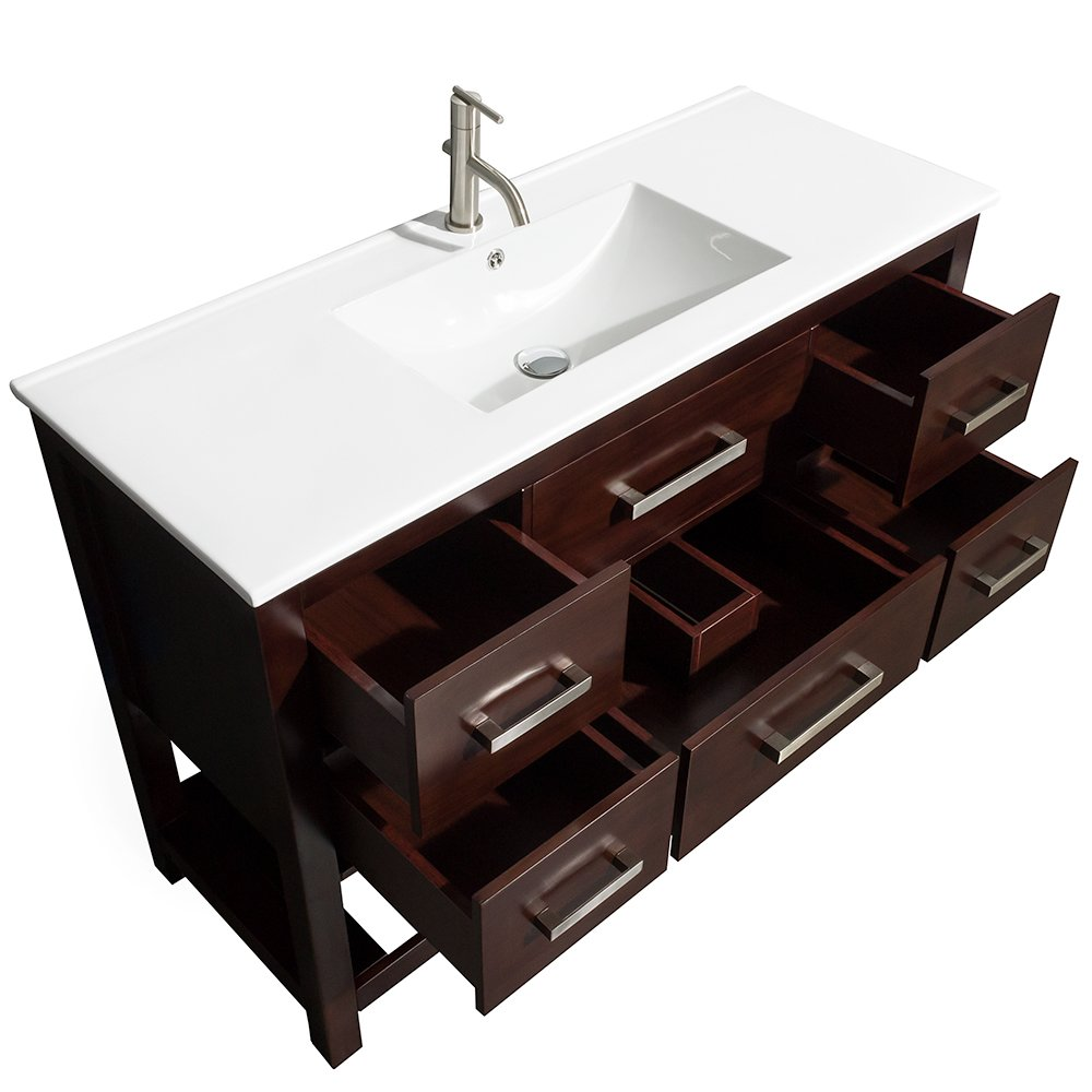 Wyndham Collection Natalie 48 Inch Single Bathroom Vanity In Espresso,  White Porcelain Countertop, Integrated Sink, And 24 Inch Mirror - -  Amazon