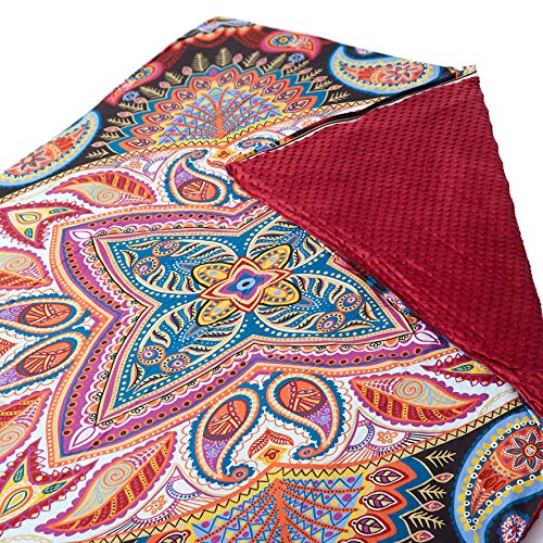 Cheap The Living Store Premium Paisley Paradise 20lb Weighted Blanket with Removable Duvet Cover Cotton/Minky (Queen Size) Premium Glass Beads Plus Size Black Friday & Cyber Monday 2019