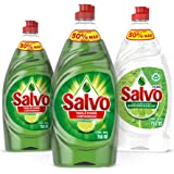 Salvo Lavatrastes Liquido Limon 750 ml, 2 Unidades + Pure 750 ml, 1 Unidad. Total 2.3Lts.