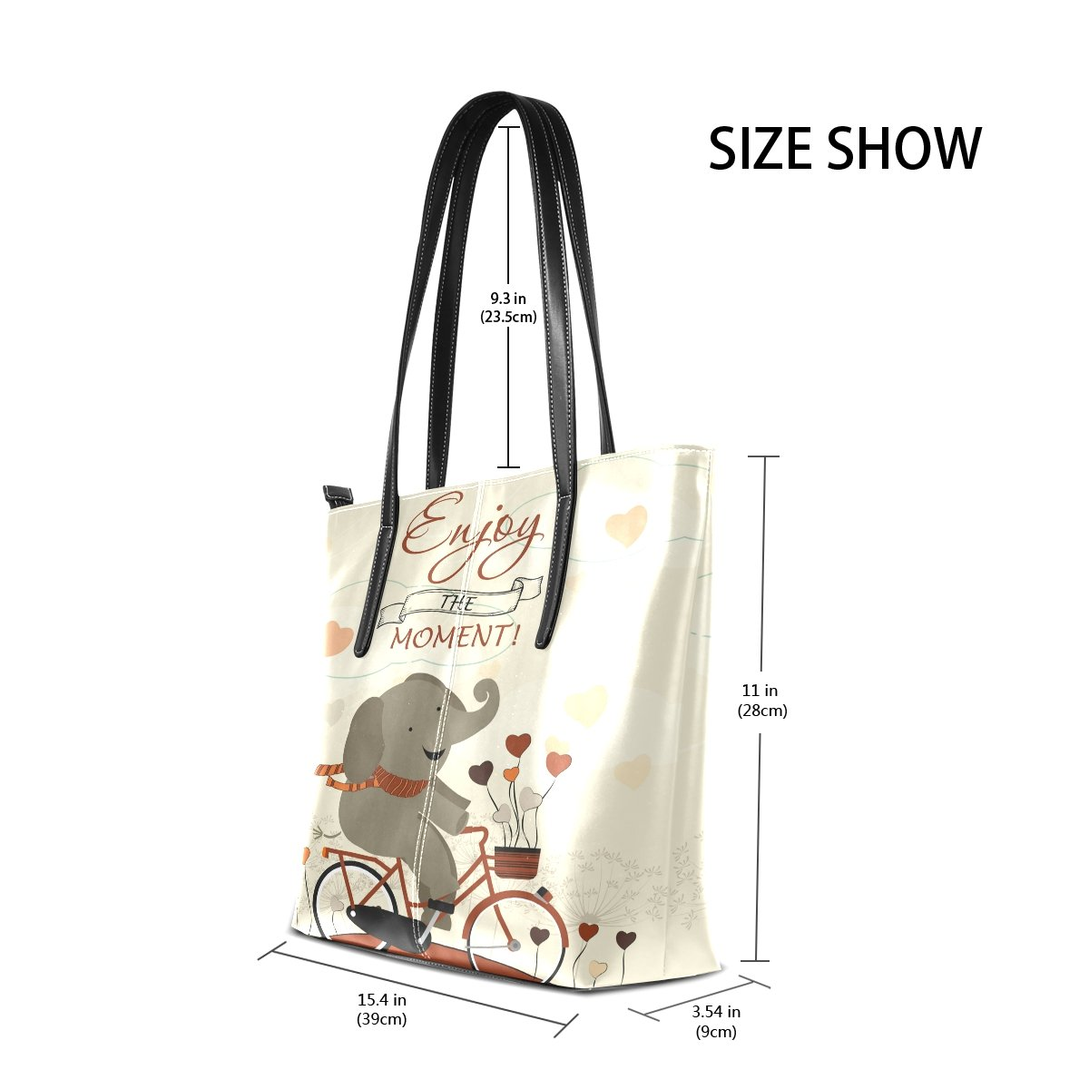 Womens Leather Top Handle Shoulder Handbag Cute Elephant Large Work Tote Bag