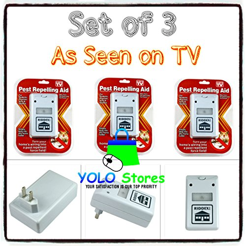 YOLO Stores Set of 3 Riddex Plus Pest Repellent for Rodents, Roaches, Ants, Spiders, As Seen on TV, White, 110V eBook Included