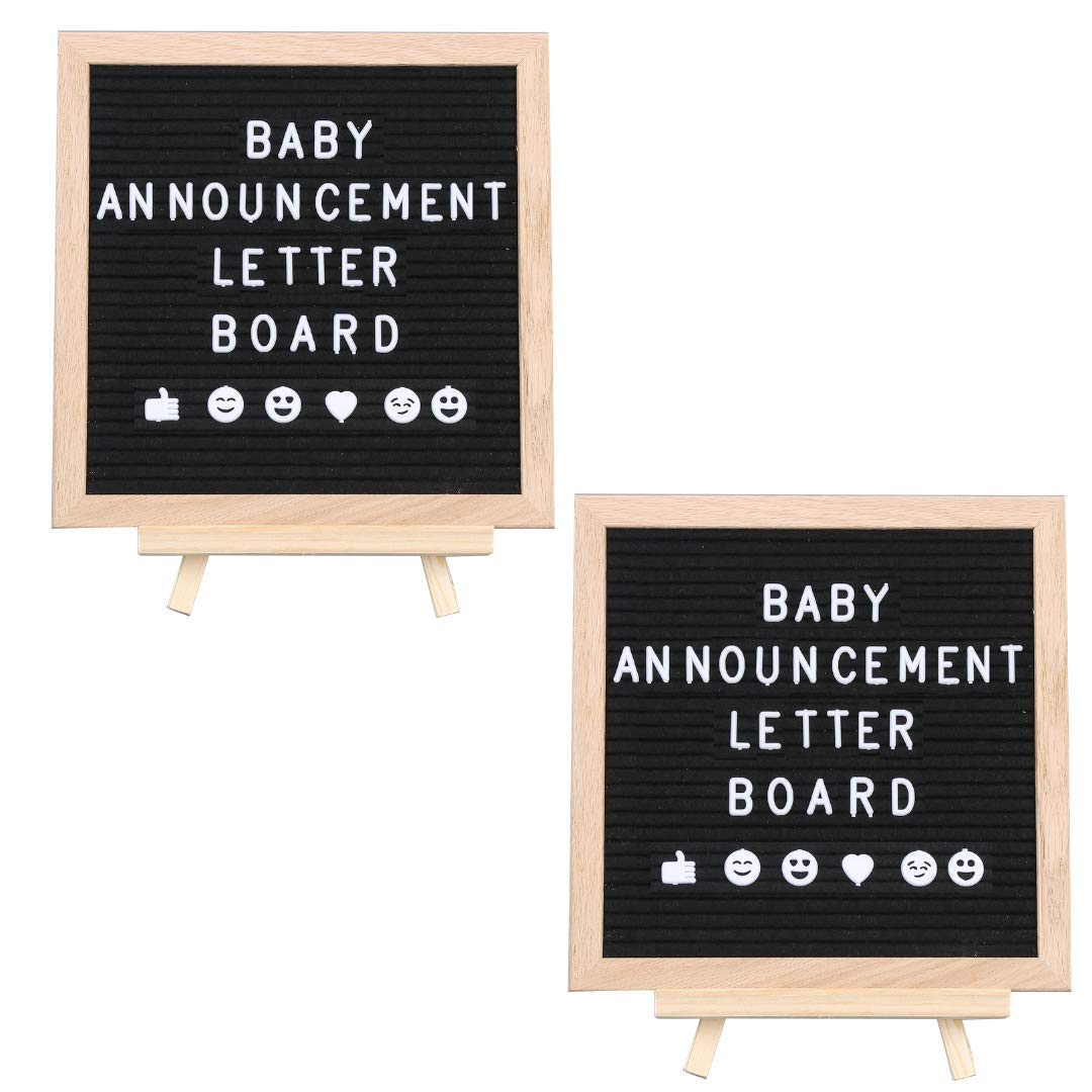 2-Pack Letter Board for Baby Announcement: Changeable Black Felt Letterboard for Milestones, Bridal and Baby Showers, Bonus Ebook 99 Baby Photo Ideas, 10 x 10 Inches, 290 Characters, Canvas Bag