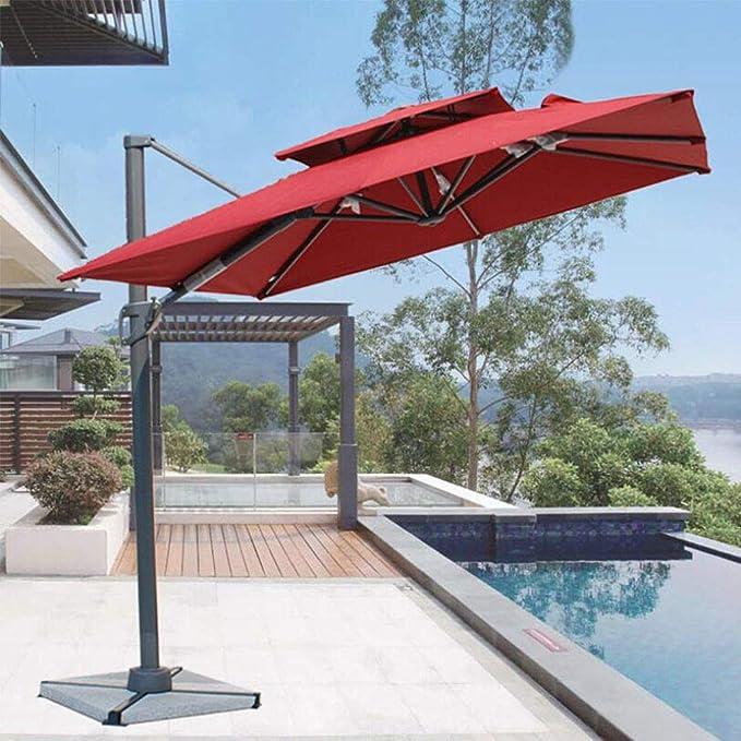 Xytton Paraguas de ocio al aire libre, paraguas de jardín, paraguas de balcón, horizontal, manivela y 12 nutridos, altura 3 m, para terraza, pesca, playa, piscina, rotación de 360 °, rojo: Amazon.es: Hogar