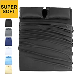 INGALIK Premium Bed Sheet Set 4 Piece Queen Size - 1800 Thread Count Brushed Microfiber - Super Soft Bed Sheets Set,120 GSM Hypoallergenic Fabric - Deep Pocket Sheet Sets(Dark Grey,Queen)