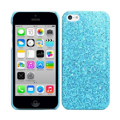 RT-TRADING Apple iPhone 5C Glitter Bling Glitzer Strass Hülle Hard Case Cover Etui Tasche in Blau