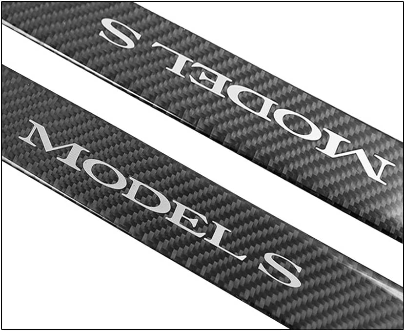 CoolKo Car Door Welcome Pedal Sills Protection Kit Real Carbon Fiber Modified Decoration Compatible with Model S Front Door