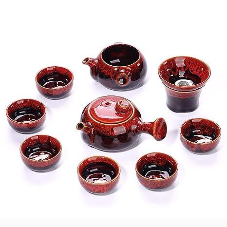 Amazon.com: Juego de té Kung Fu de color rojo chino retro ...