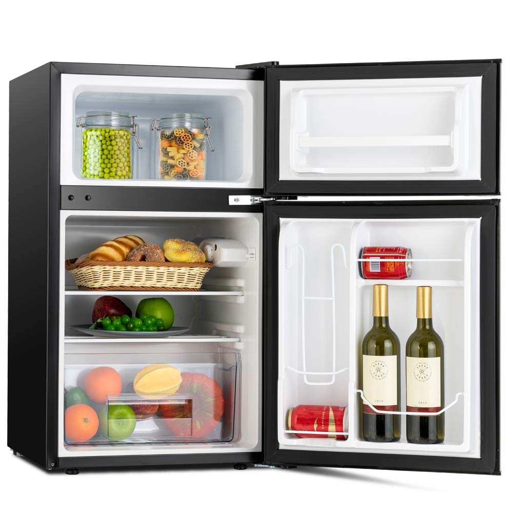 Camper Kuppet Compact Refrigerator Mini Refrigerator for Dorm,Garage Stainless Steel Double Door Refrigerator and Freezer 3.2 Cu.Ft Basement or Office