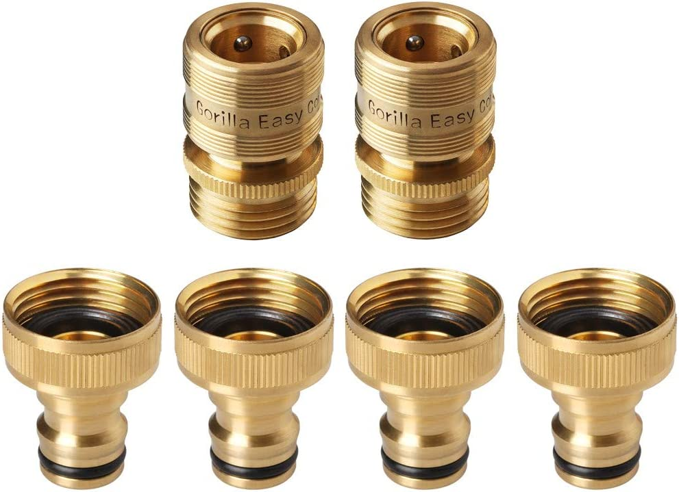 GORILLA EASY CONNECT Garden Hose Quick Connect Fittings. ¾ Inch GHT Solid Brass. 4 Male and 2 Female Connectors.