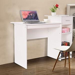 MeButiko Home Desktop Computer Desk with Drawers Home Small Desk Dormitory Study Desk,Student Desk Laptop Desk with Drawer Home Office Table