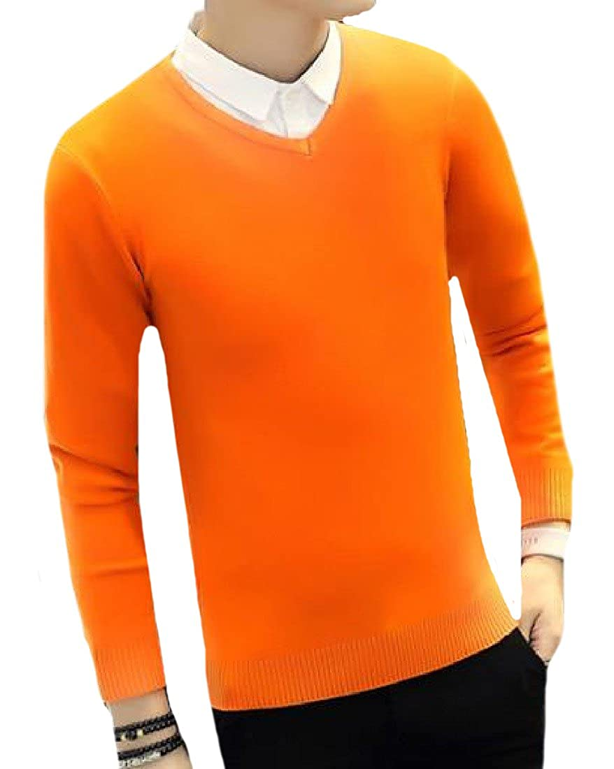Comaba Mens Round Neck Basic Style Classic Fit Stretchy Knitwear