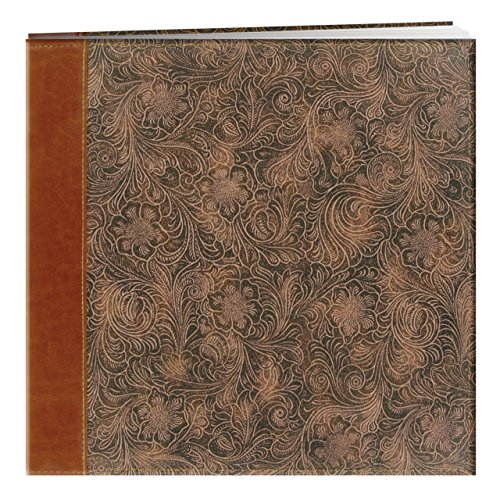 Pioneer 12 Inch by 12 Inch Postbound Embossed Sewn Leatherette Cover Memory Book, (Time Postbound Album)