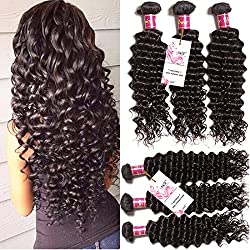 Unice Hair 3 Bundles Brazilian Virgin Hair Deep Wave Hair Extensions 7a Grade Unprocessed Human Hair Wave Natural Color Can Be Dyed and Bleached (20 22 24)