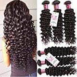 Unice Hair 4 Bundles Brazilian Virgin Hair Deep Wave Hair Extensions 7a Grade Unprocessed Human Hair Wave Natural Color Can Be Dyed and Bleached (22 24 26 26)