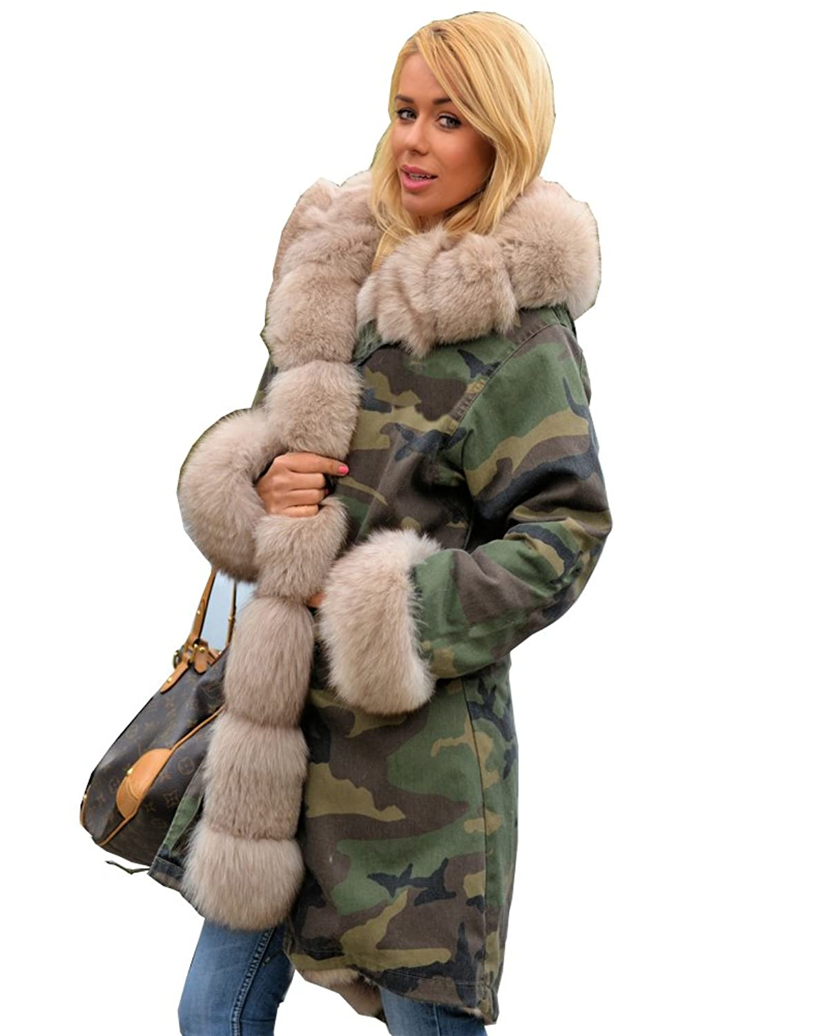 Amazon.com: Roiii Ladies Fur Collar Hooded Parka Military ...