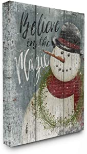 Stupell Home Décor Believe in Magic Snowman Oversized Stretched Canvas Wall Art, 24 x 1.5 x 30, Proudly Made in USA